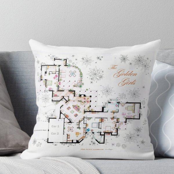 The Golden Girls House Floorplan V 2 Throw Pillow by Iñaki Aliste Lizarralde