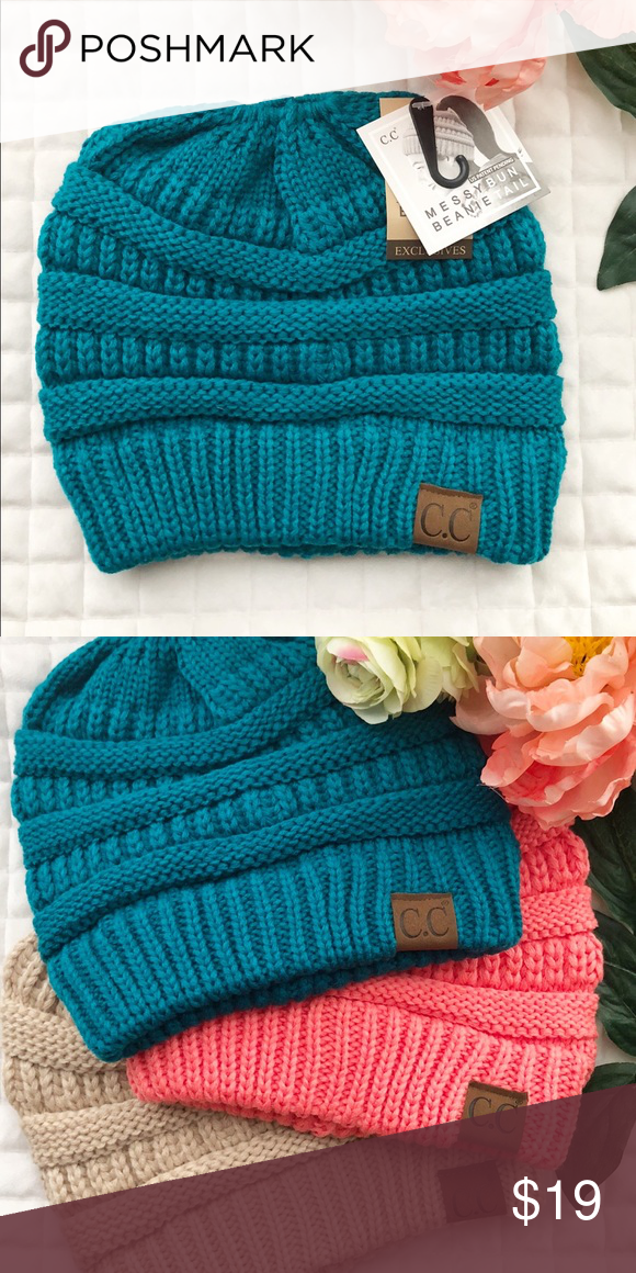 43488c01edda5 Teal CC Messy Bun Beanie We have three colors available in these. There is  an