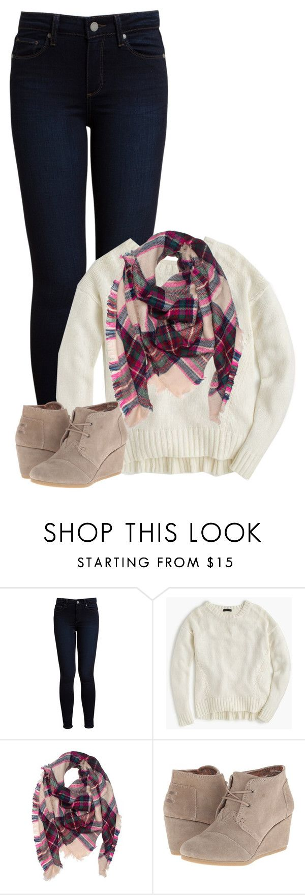 """""""// No school again //"""" by morgantaylor37 ❤ liked on Polyvore featuring Paige Denim, J.Crew and TOMS"""