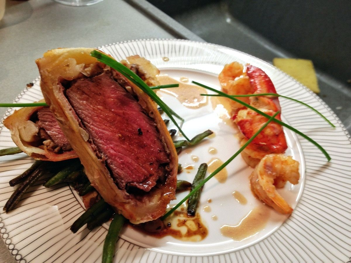 Made Surf And Turf Beef Wellington Along With Grilled Shrimp And Lobster Oc 612x816 Beef Wellington Grilled Shrimp Surf And Turf
