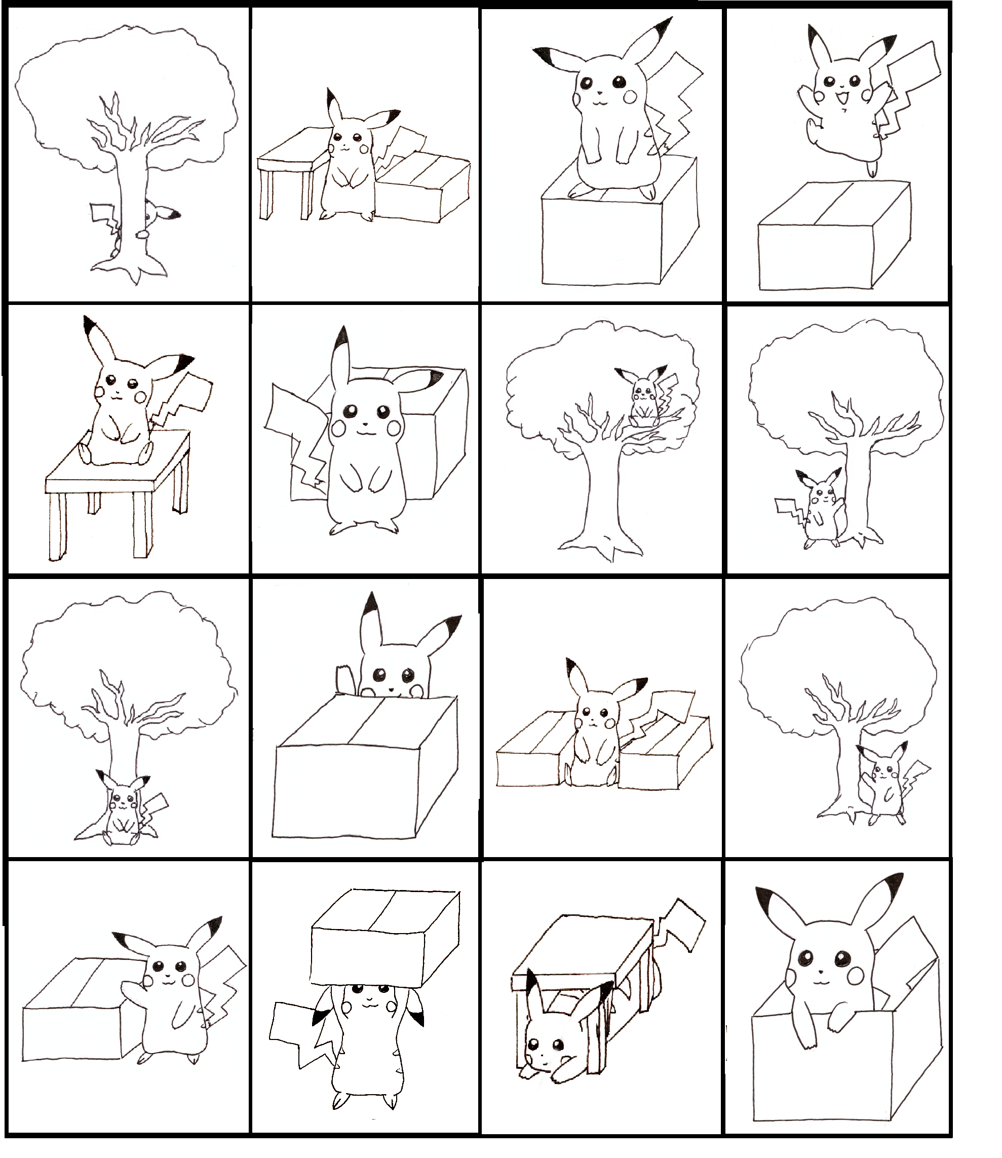 Pikachu Bingo Practicing Prepositions Board 4 Of 4 Made