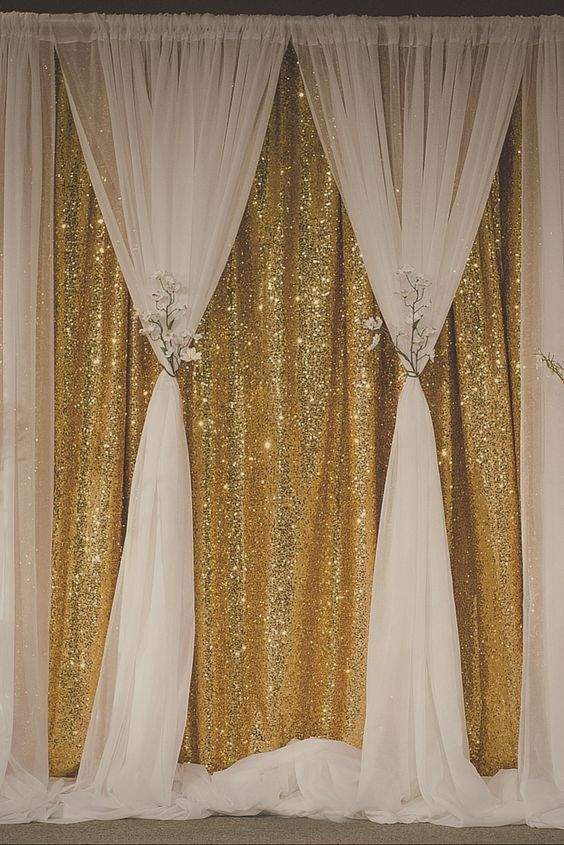 White And Gold Sequins Backdrop Gatsby Wedding