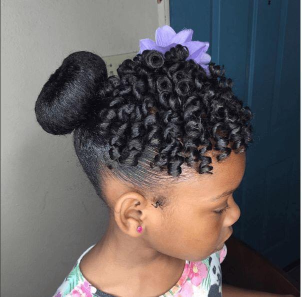 Doughnut Bun And Cute Curls Girl Hairstyles Natural Hair Styles Kids Hairstyles