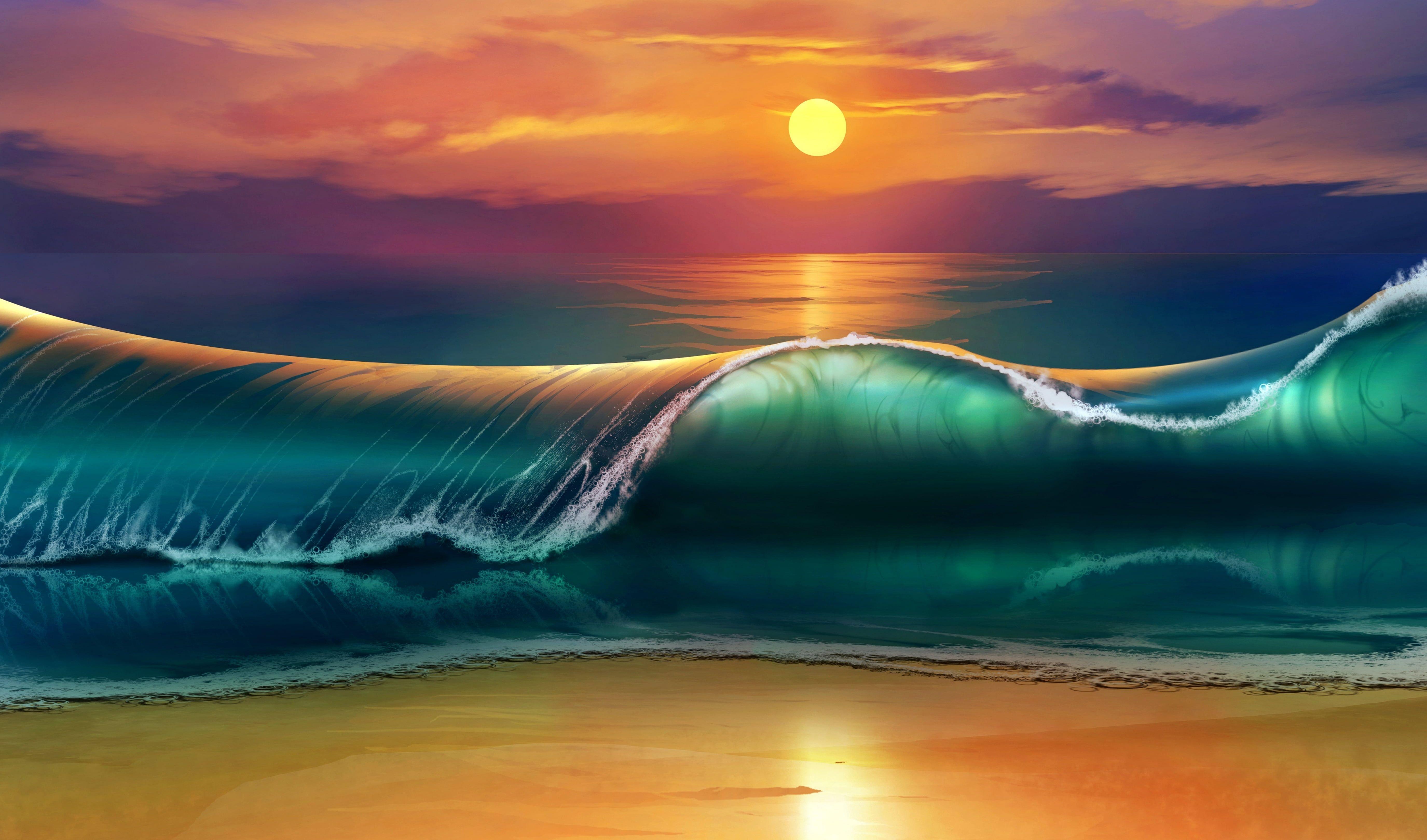 Sea Wave During Daytime Illustration Art Sunset Beach Sea Waves 5k Wallpaper Hdwallpaper Beach Sunset Wallpaper Sunset Wallpaper Ocean Waves Painting