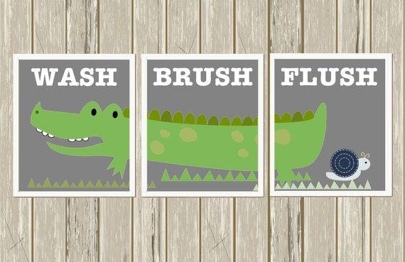 High Quality Boys Bathroom, Alligator Bathroom Art, Kids Bathroom Art, Bathroom Decor,  Alligator Wall Art, Set Of 3, Custom Colors