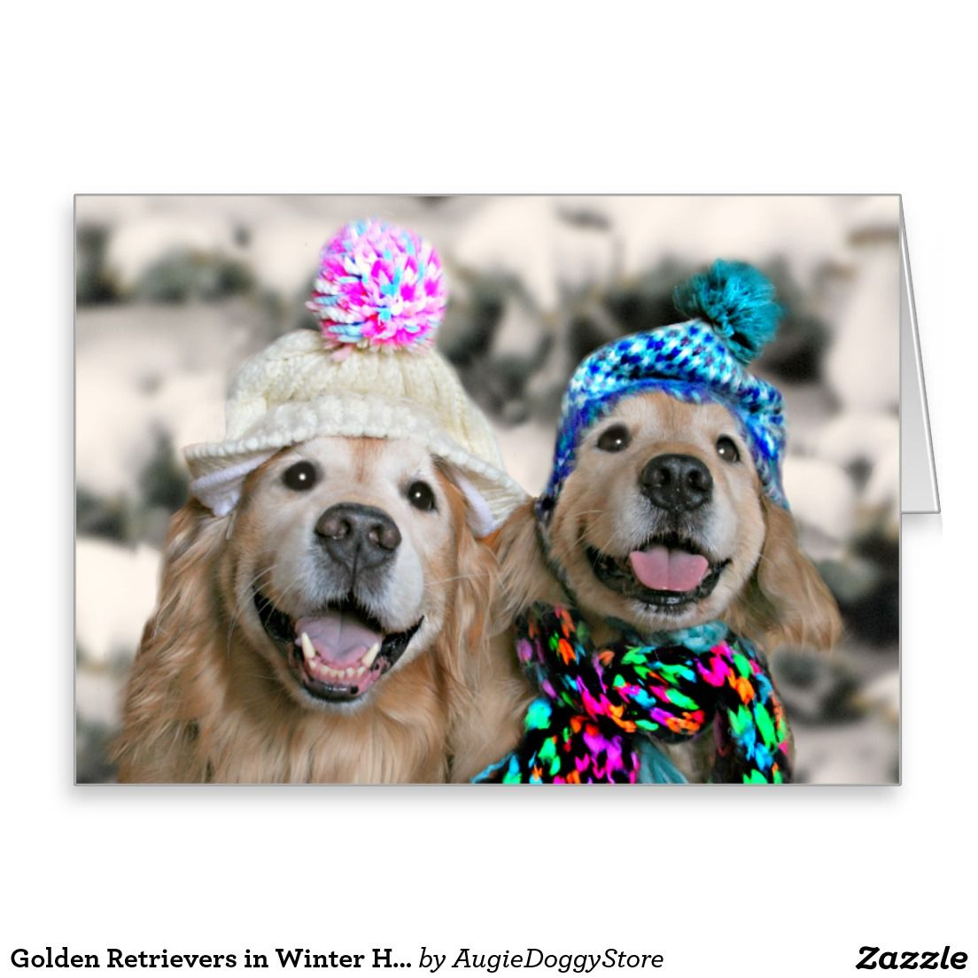 Golden Retrievers In Winter Hats Holiday Christmas Card Christmas