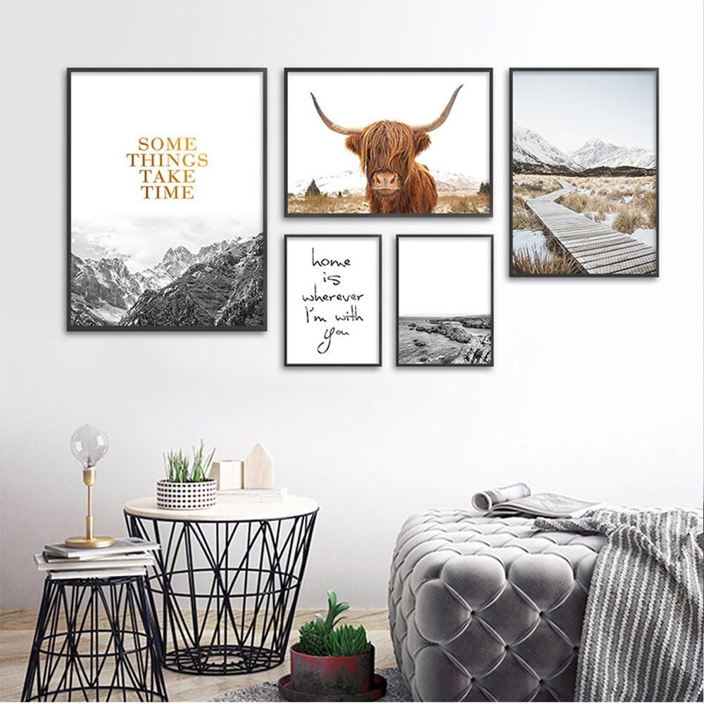 Nordic Mountain Art With Images Cow Wall Art Cow Decor Nordic Decor