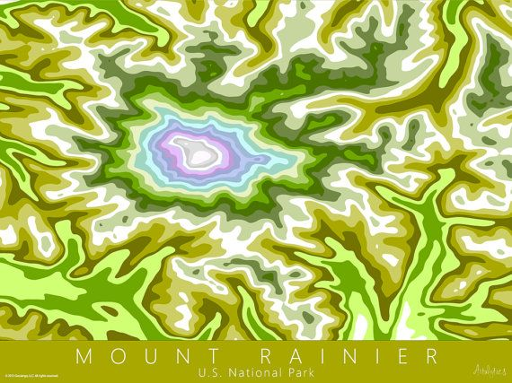 Mt Rainier Topographic Map.Mount Rainier National Park Map Art Spring Colors Mt Rainier