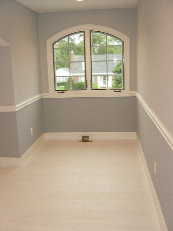 Easy way to create visual interest w chair rail and painted pine floor pinterest dining Master bedroom chair rail