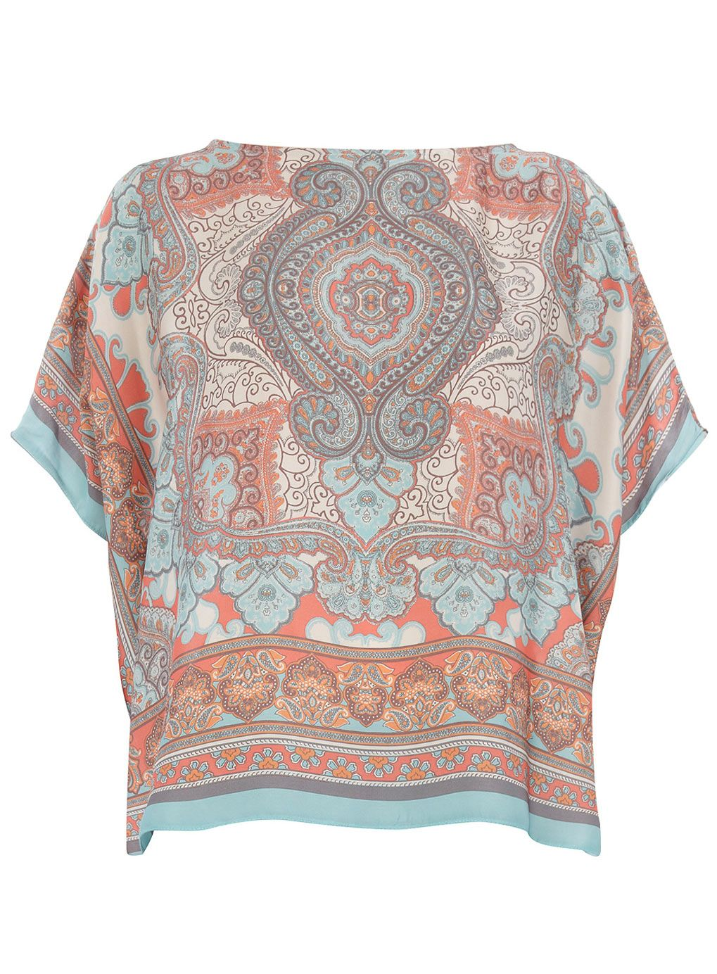64d18930055 Coral And Blue Scarf Print Top -- Dorothy Perkins Price