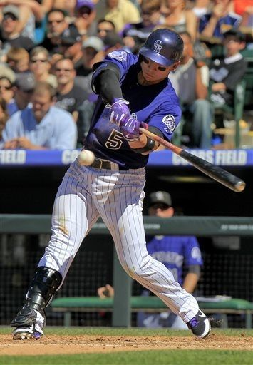 colorado rockies carlos gonzalez 5 hits a 2 run home run to take rh pinterest com