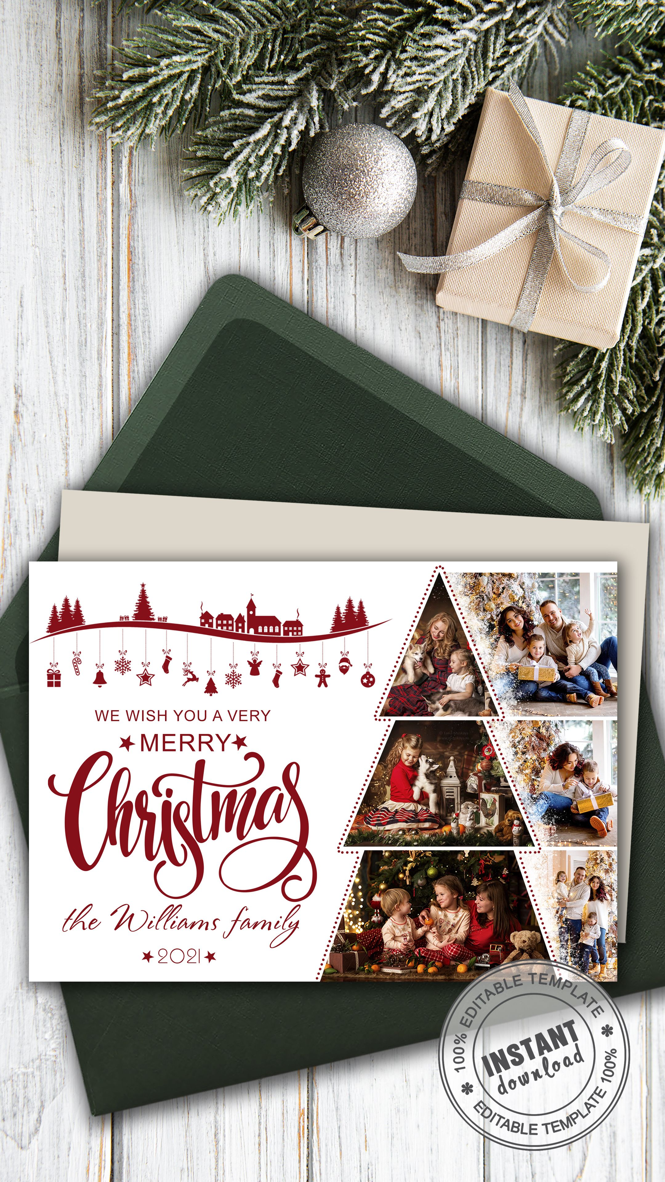 Card Template Christmas Tree Holiday Family Card With Photo Etsy Personalised Christmas Cards Family Holiday Cards Christmas Templates