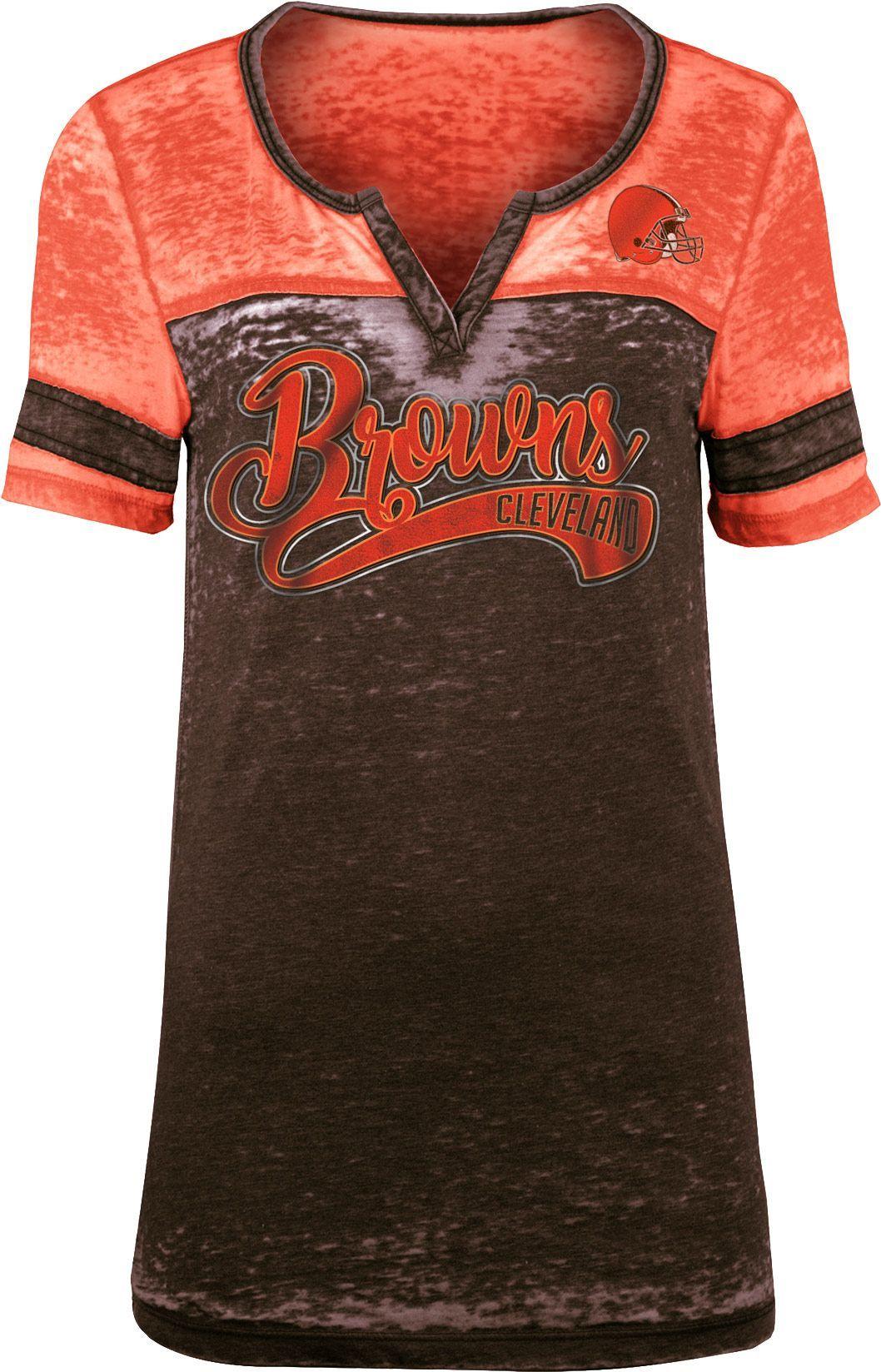 a1ca1280 NFL Team Apparel Women's Cleveland Browns Foil Burnout V-Neck T ...