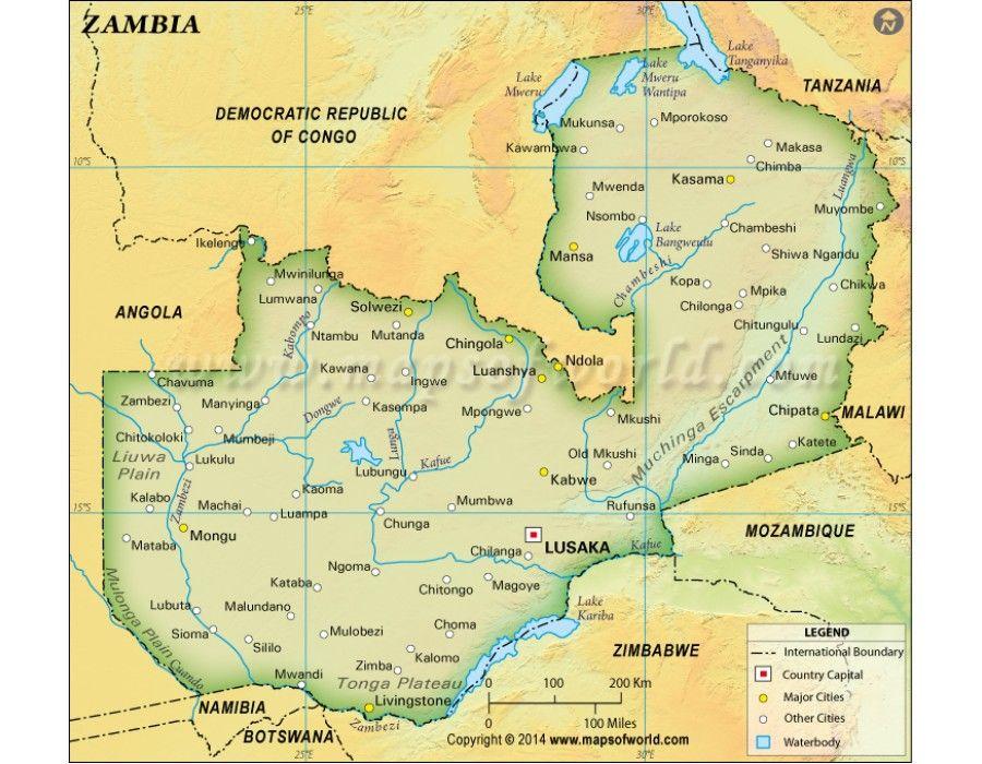 Zambia Physical Dark Green Map store mapsofworld Pinterest