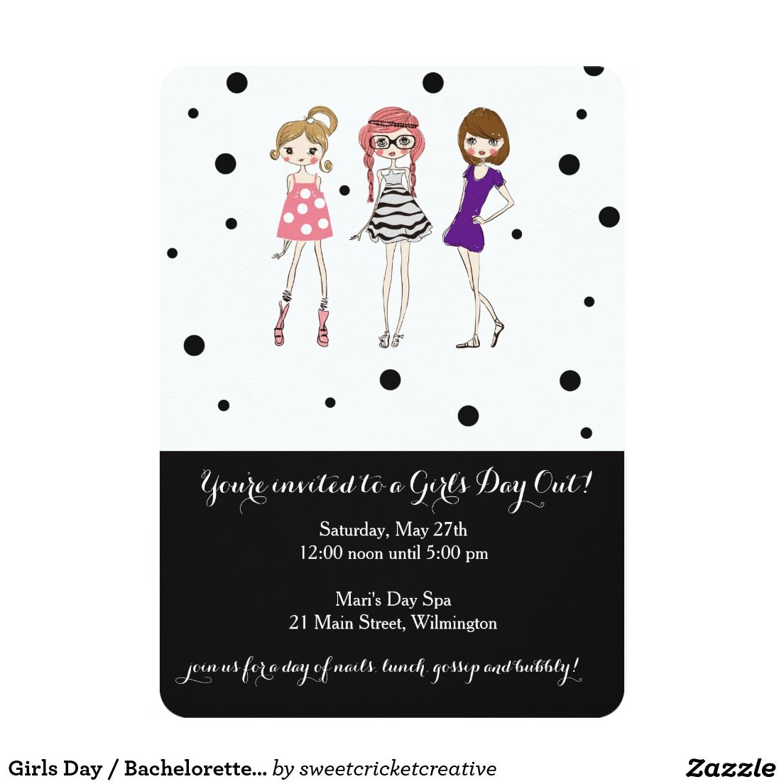 Girls Day / Bachelorette / Glamour Party Invite | Bachelorette Party ...