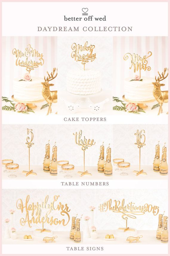 Wedding Cake Toppers Table Numbers And Wedding Signs By Better Off Wed Wedding Cake Toppers Gift Table Wedding Wedding Hashtag Sign