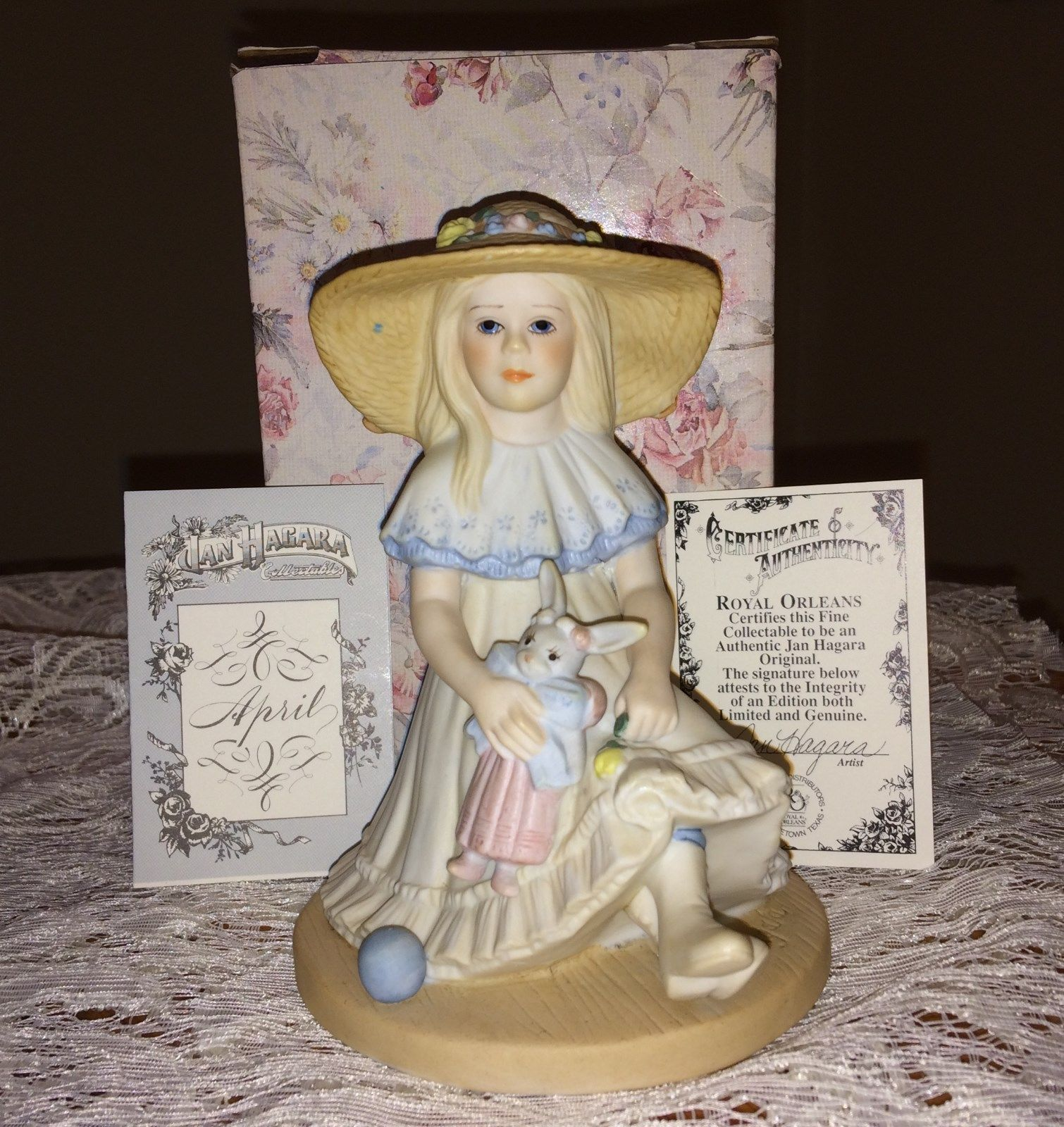 Jan Hagara Cross Stitch Patterns: Jan Hagara Collectible Porcelain Figurine APRIL Original