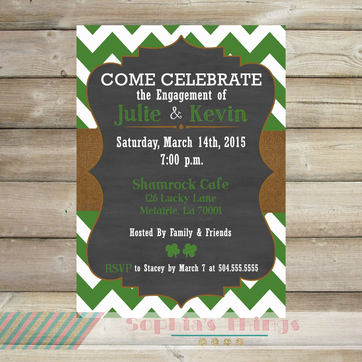 St. Patrick\'s Day Printable Invitation, Green Chevron and Burlap ...