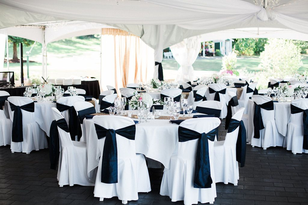 Black and White Outdoor Wedding Receptionin Vancouver