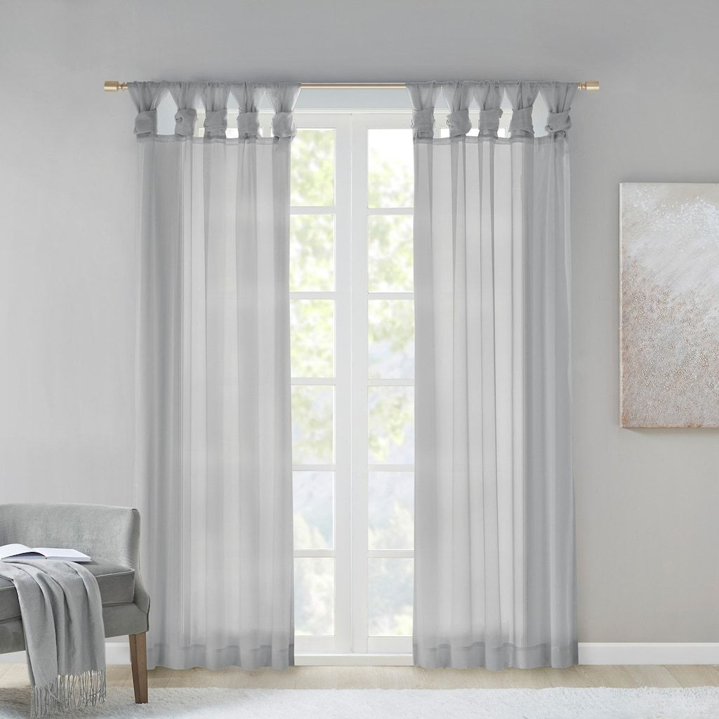 Madison Park 2 Pack Elowen Twisted Tab Voile Sheer Window Curtains