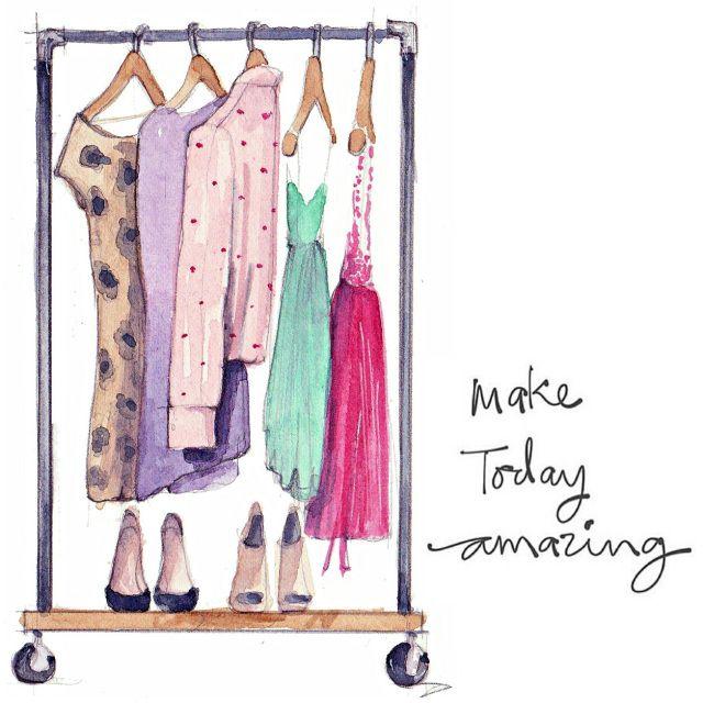 Make today amazing. Quote. Fashion sketch illustration