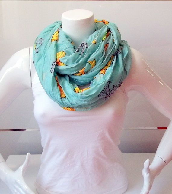 Ribbon  Print Green and Yellow Color ScarfLoop by BestScarf, $22.90