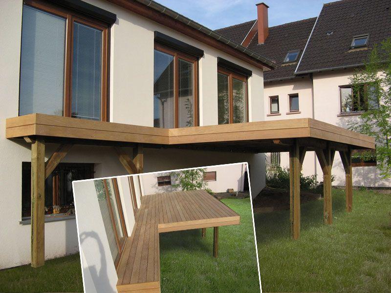 Terrasse en bois autoportante sur poteaux