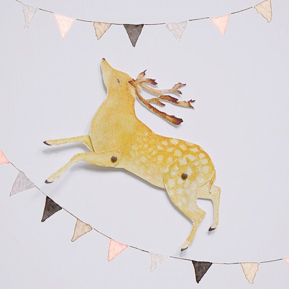 Deer Articulated Paper Doll Printable Instant Download Pdf Paper