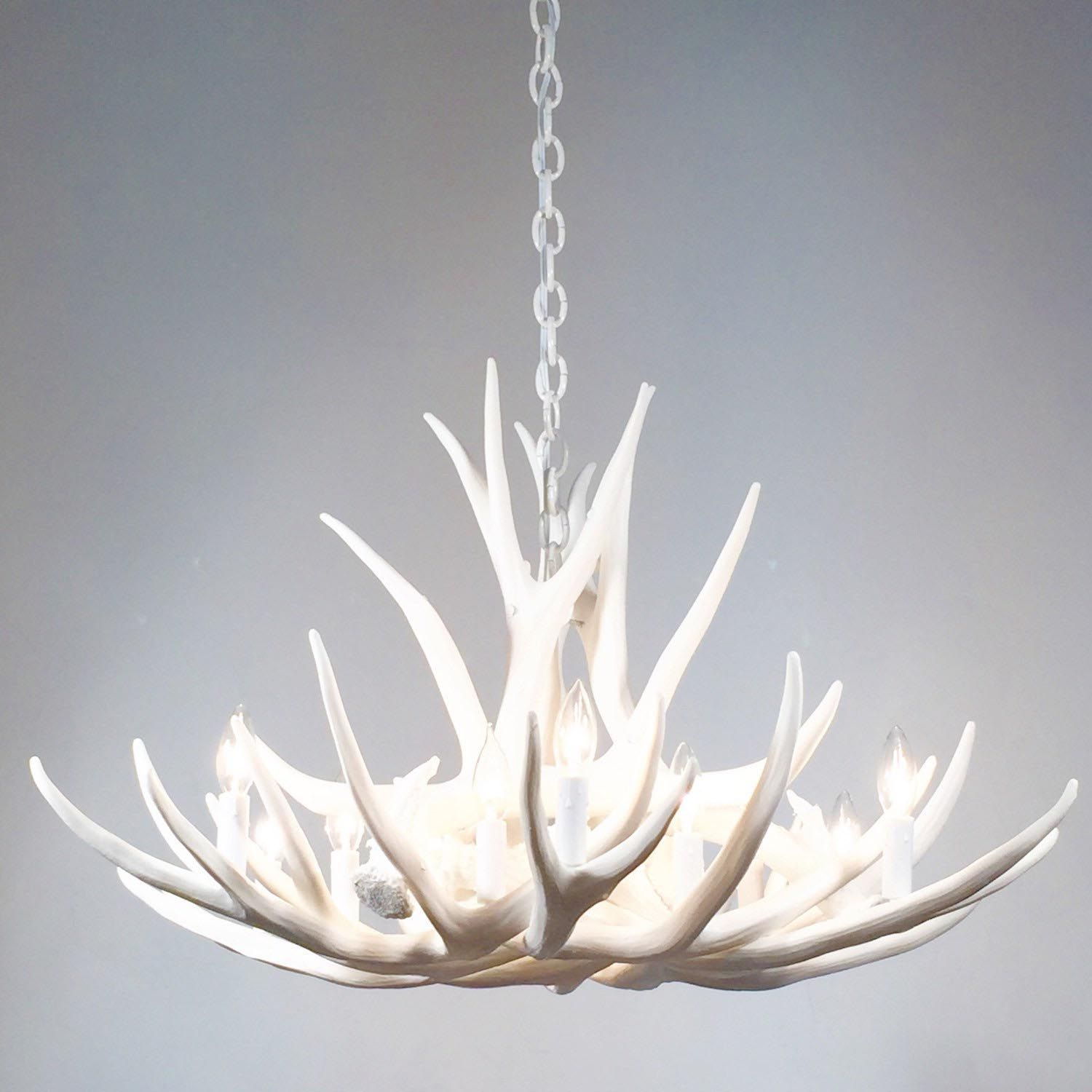 Deer Antler Chandelier With Crystals