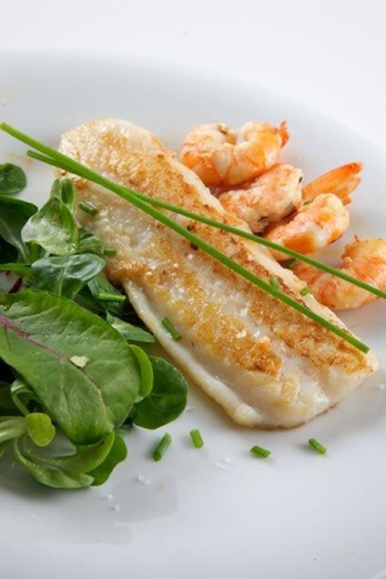 Roasted Lemon Flounder Filets with Garlic Shrimp