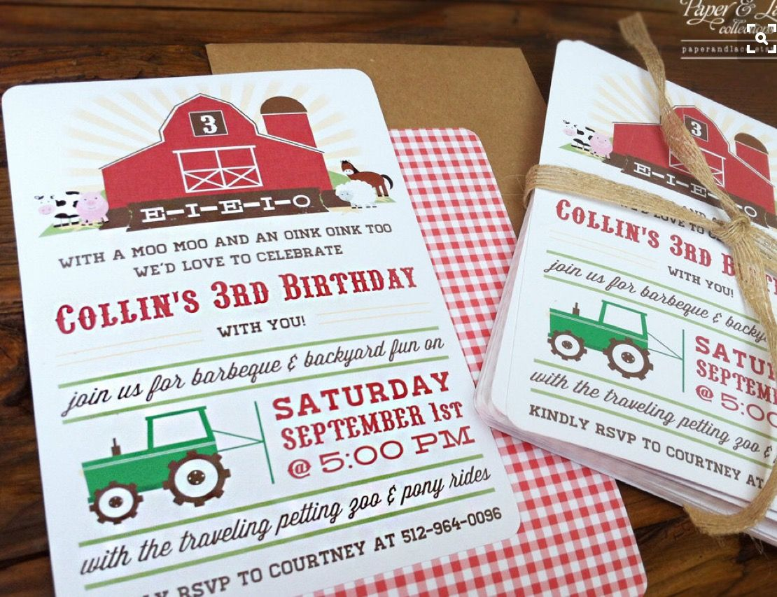 bday party invitation mail%0A Farm Birthday Party Invitations by paperandlaceaustin on Etsy