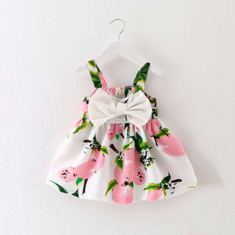 92fdaa333c ... girl clothes lemon print baby clothes sleeveless bow princess Gallus  dress. Tropical Floral Dress