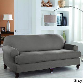 tailor fit stretch fit 2 piece sofa slipcover brown solid in rh pinterest com