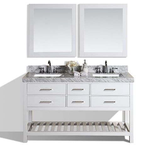 60 laguna white double modern bathroom vanity with white marble top rh pinterest com