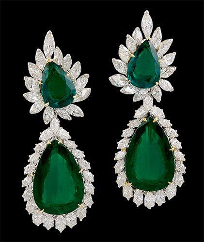5eb5aeaf5 HARRY WINSTON Platinum P/S Emerald & Diamond Earrings/Pendant view1 ...