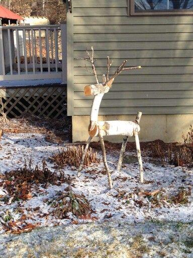 Log reindeer. Handmade