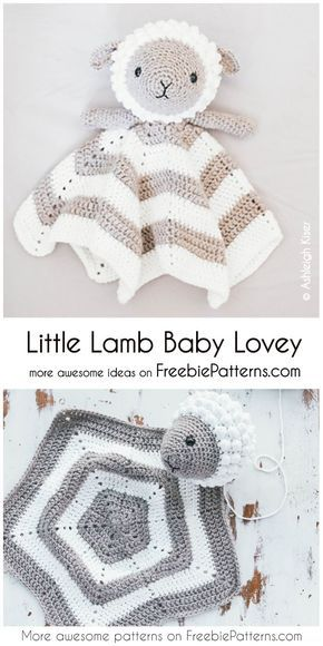 Crochet Little Lamb Baby Lovey Security Blanket Pattern #crochetsecurityblanket