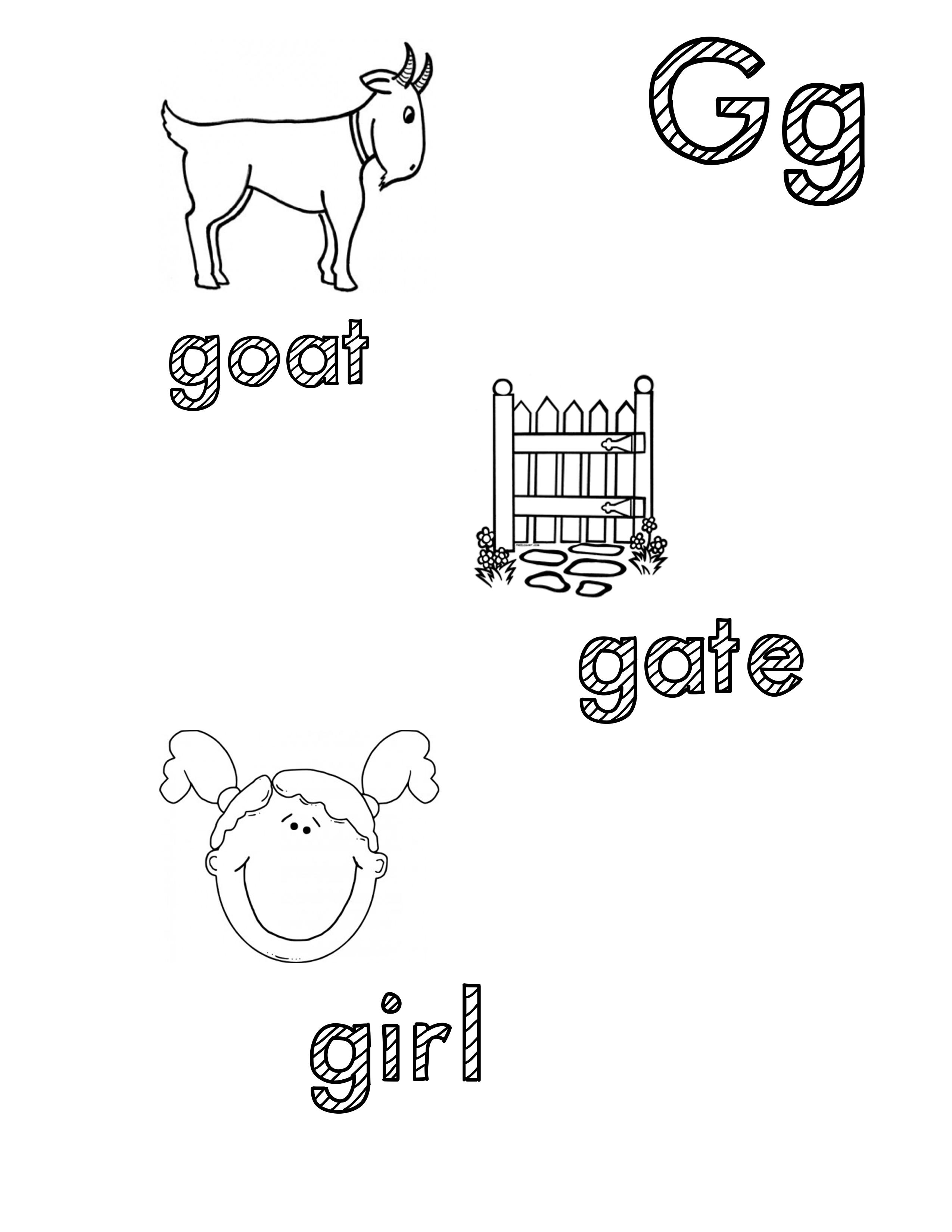 Phonetic Gg Coloring Sheet