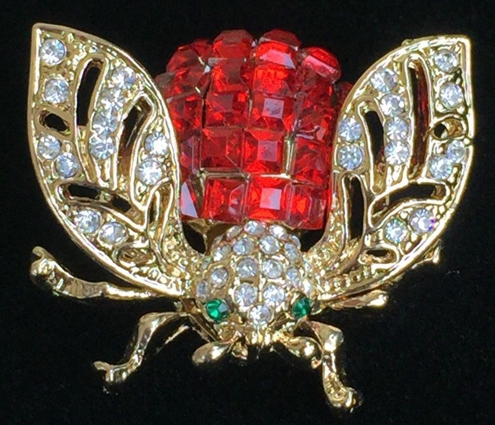 48e978301ab RED RHINESTONE BEETLE LOCUS FLY BUG INSECT FLYING BUMBLE BEE PIN BROOCH 1  1/4