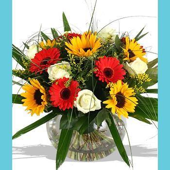Amelie Sunflowers Red Gerberas White Roses In A Big Fish Bowl Flower Arrangements Wedding Bridal Bouquets Sympathy Flowers