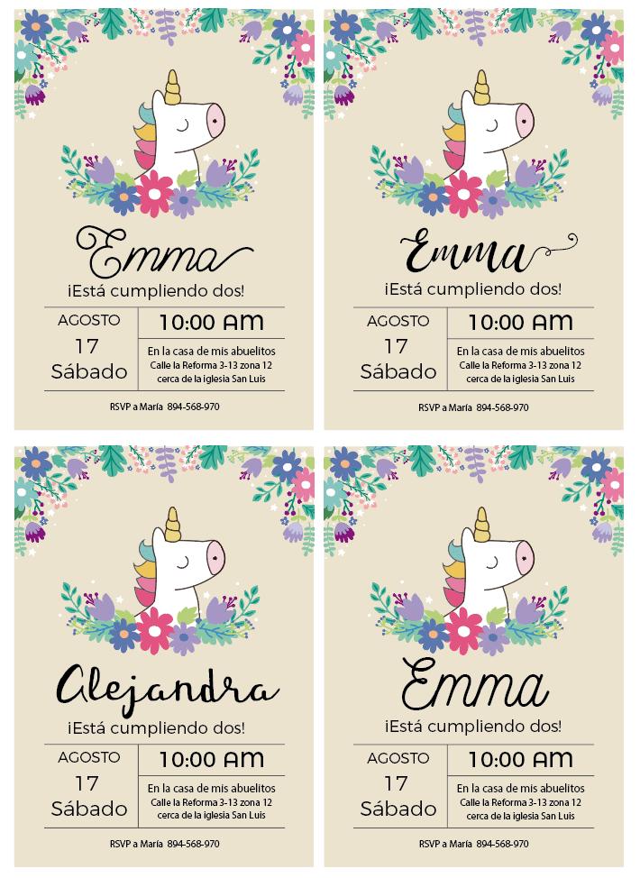 Tipos De Letras Para Invitaciones Invitaciones Unicornio