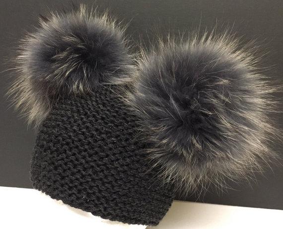 437718c75cf Dark Grey Wool Knit Hat - Double Grey Raccoon Fur Pom Poms - Two Poms -  Hand Knit - READY TO SHIP