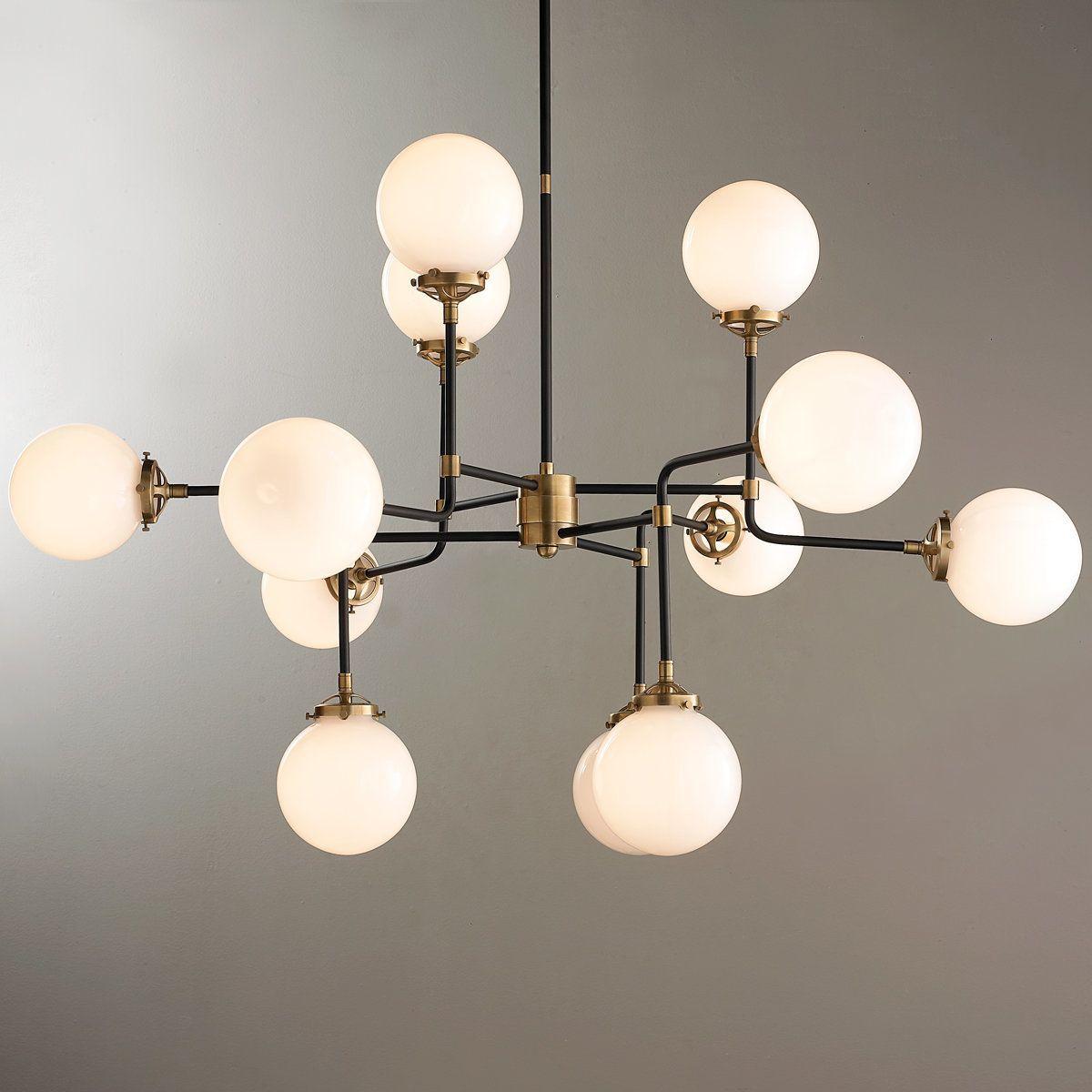 Narrow hallway lighting ideas  MidCentury Parlor Chandelier  Parlour Antique brass and Mid century