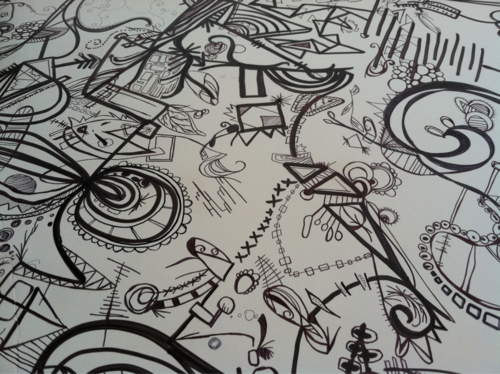 in progress. Sharpie/pens.