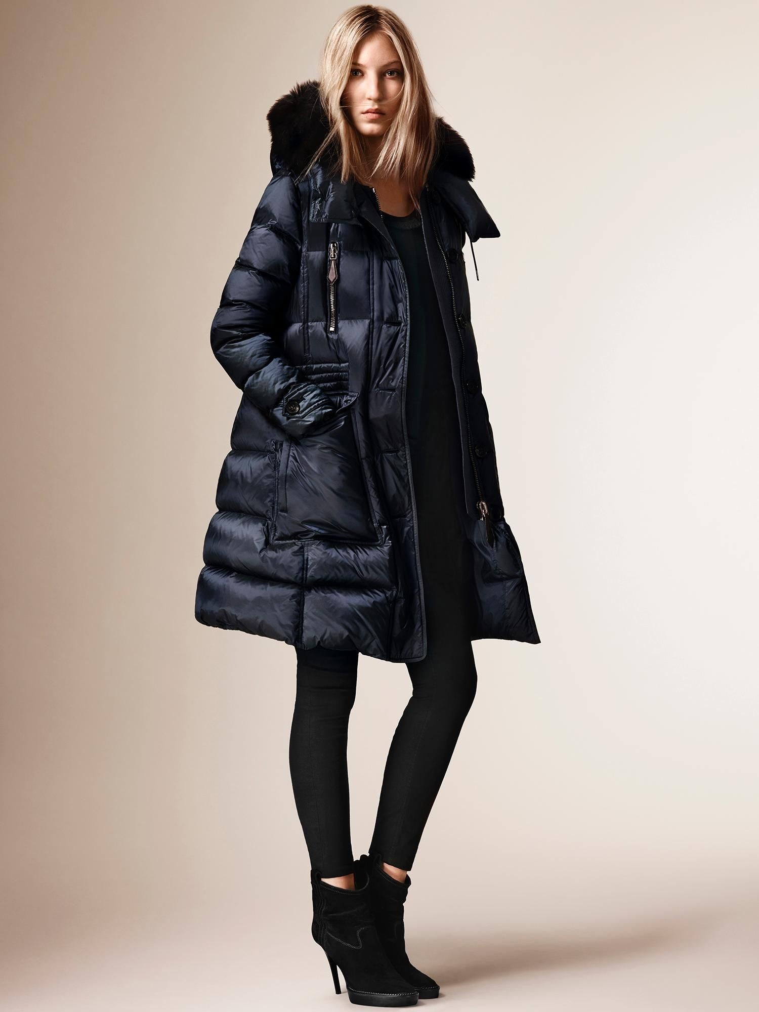 Burberry showerproof down-filled puffer coat with a detachable fox ...