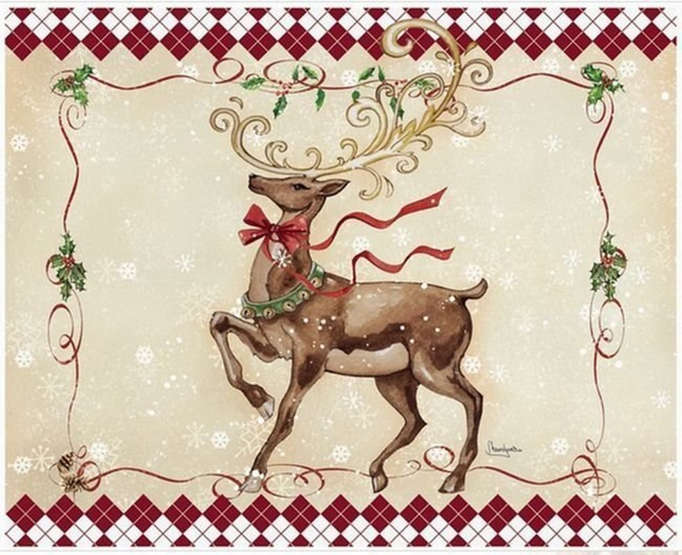 Картинки для декупажа новогодние олени