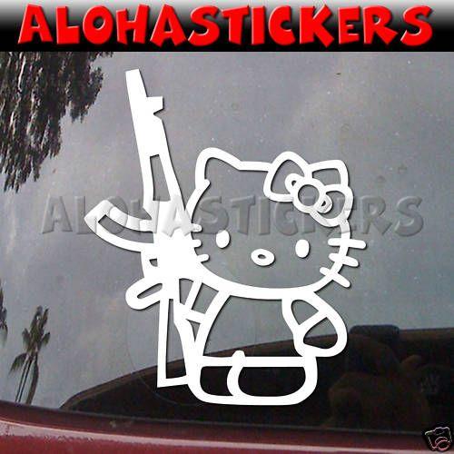 Hello kitty ak47 gun vinyl decal car window sticker a53 ebay