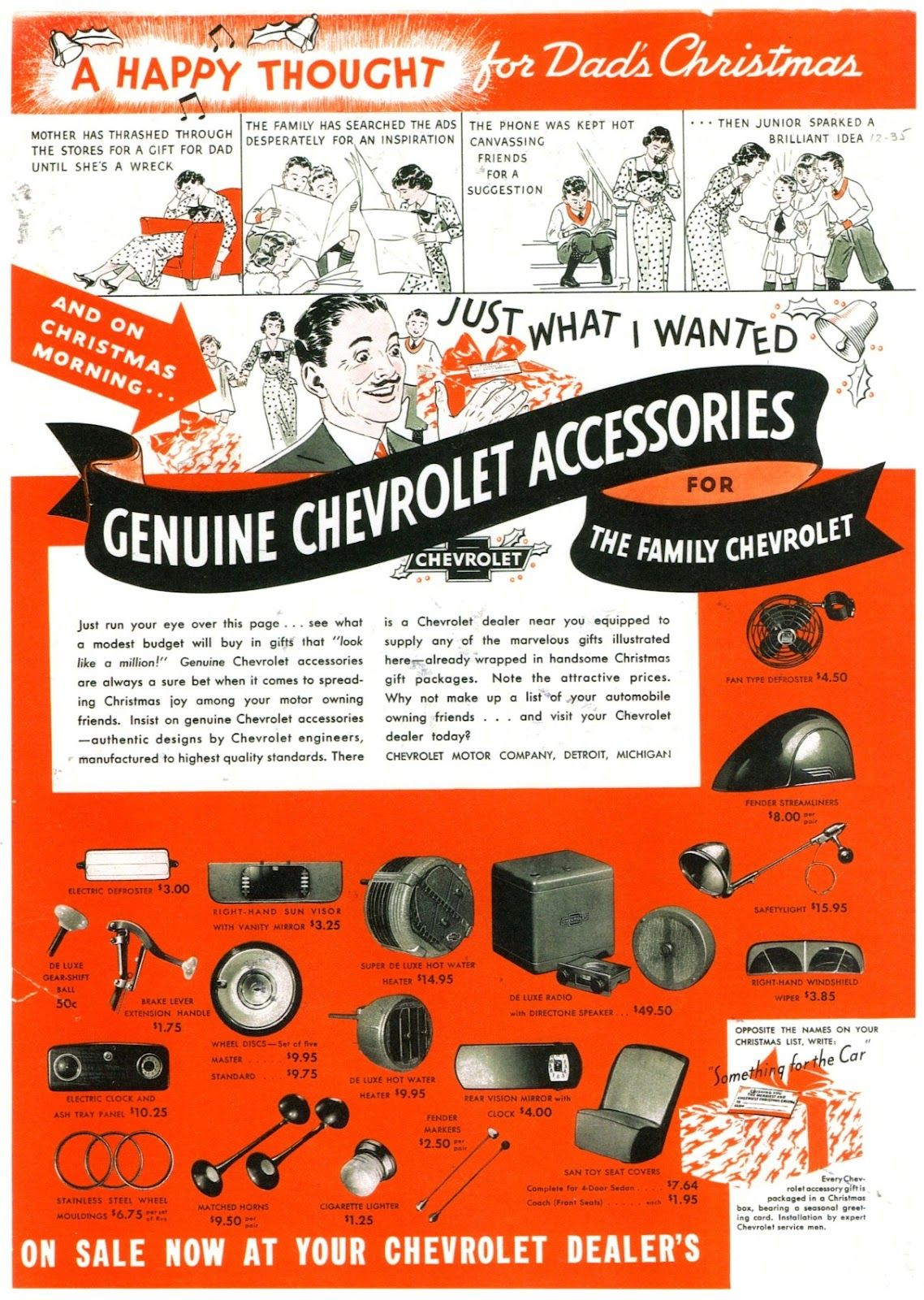 1936 Chevrolet Accessories Dad Christmas Holiday Car Vintage
