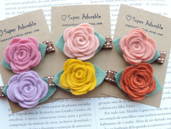 Felt Flower Hair Clip  Pick your colors  Baby by SuperAdorable, $9.50