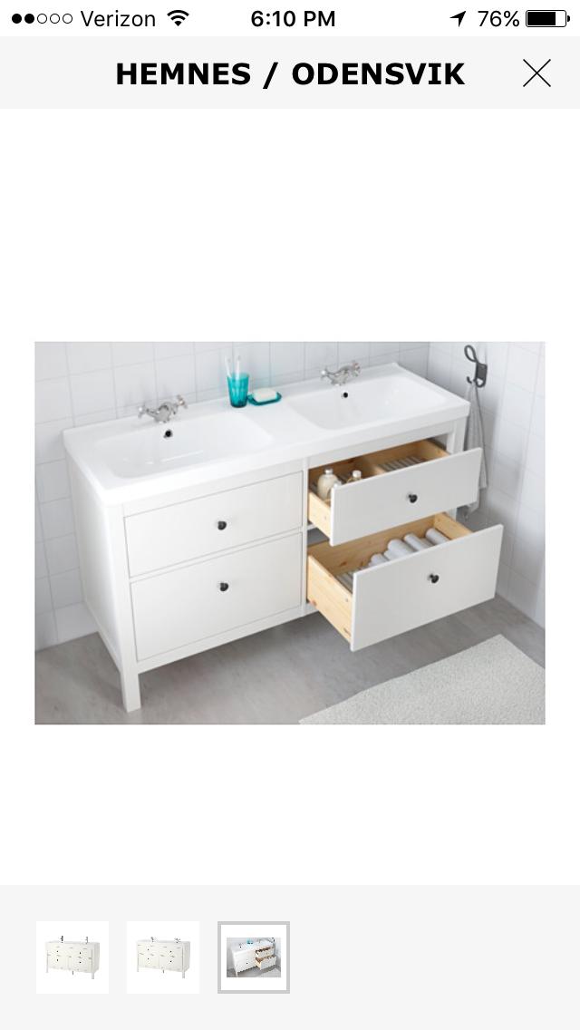 ikea hemnes 55-inch double sink   bathroom vanities   pinterest
